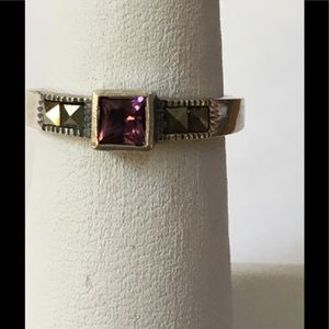 Sterling Silver Marcasite & Amethyst Ring